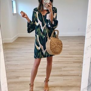 Dresses & Skirts - Boutique Palm Print V-Neck Bell Sleeve Shift Dress